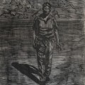 houtsnede-vreemdeling 70x50cm